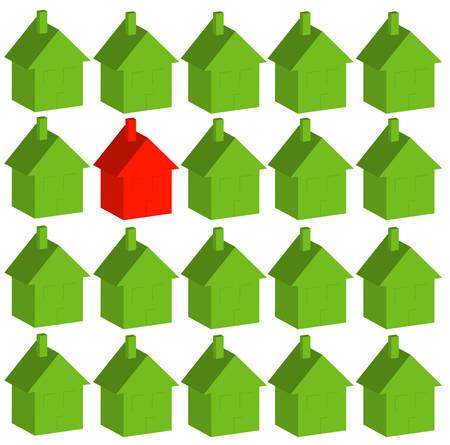 een rood huis onder veel groen - anders zijn - vector