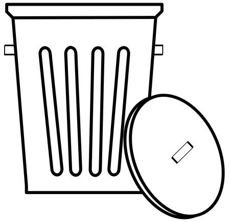 outline of garbage can or bin on white background - vector