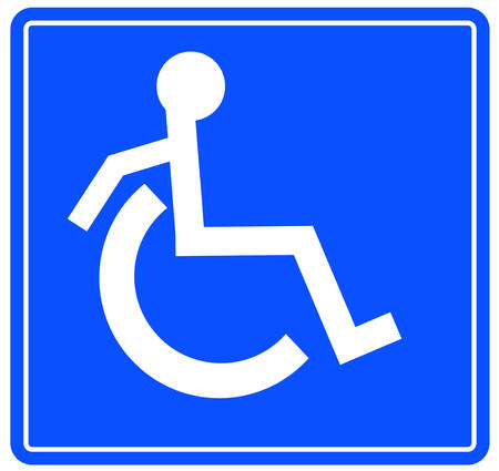 handicap or wheelchair accessible sign with person on the move - vector Vettoriali