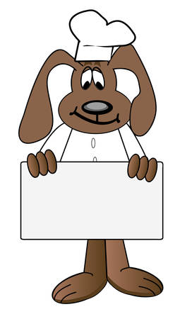 cartoon of dog chef holding blank menu sign - vector