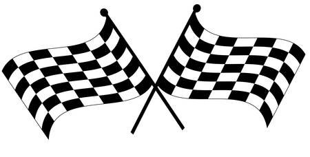two crossed waving black and white checkered flags - vector Ilustracja