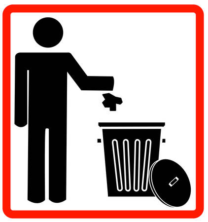 figure of person throwing garbage into a trash can - no littering - vector