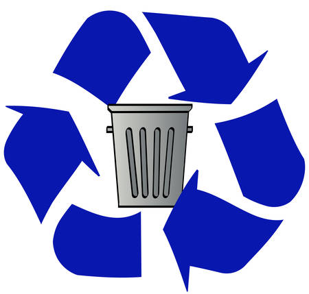blue recycle logo with garbage can in the middle - vector