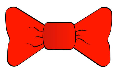 red bowtie isolated on white background - vector