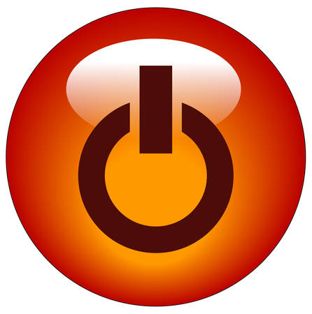 red power button or web icon - vector Çizim