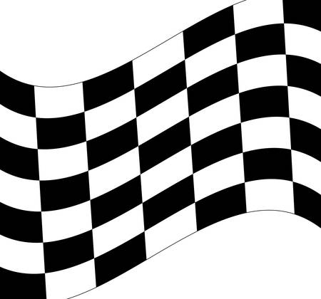 waving black and white checkered flag on white background - vector
