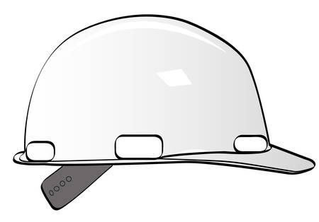 construction workers hard hat on white - vector Illustration