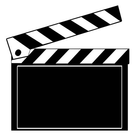 black and white clapboard isolated on white - vector Çizim