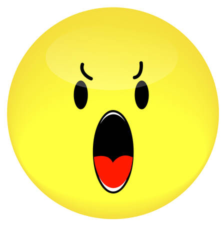 smiley face angry and yelling or shouting out - vector