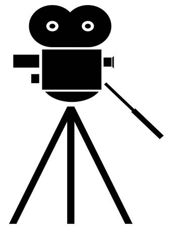 black silhouette of movie camera on white background - vector Ilustrace