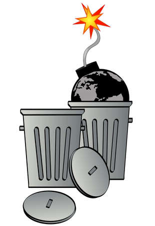 garbage can with globe as bomb - global destruction - vector