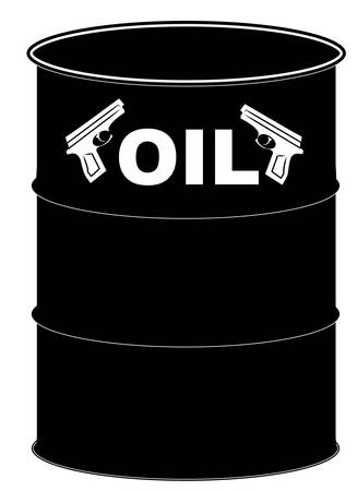 black barrel of of with handguns - fight over oil - vector