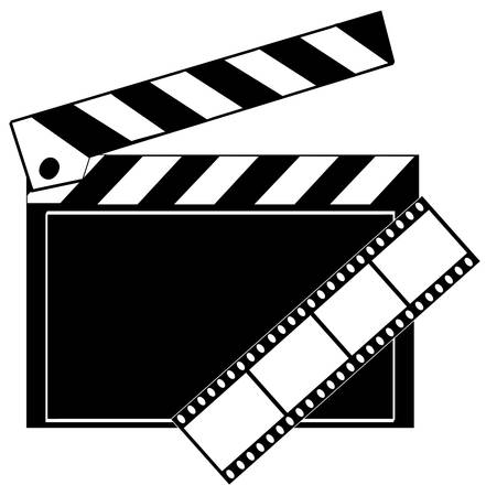 movie film strip and clapboard in black and white - vector