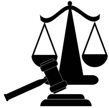 judges gavel and scales of justice silhouette - vector