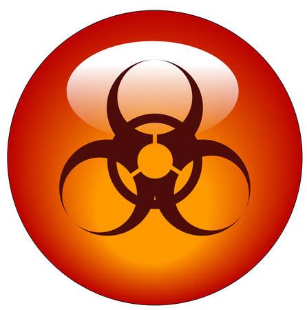 red biohazard logo on red button or icon - vector