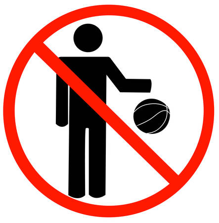 stick figure bouncing ball with not allowed symbol - no playing allowed - vector Illustration