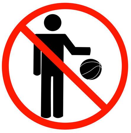 stok figuur stuiterende bal met niet toegestane symbool - geen spelen niet toegelaten - vector