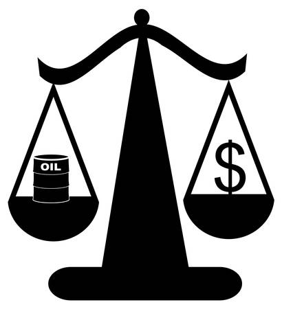 scales of justice balancing oil with the dollar - vector Ilustração