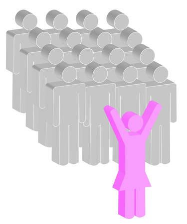 female or women stick figure leading a group of men - vector Stock fotó - 2824831