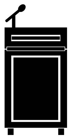 black silhouette of podium with a microphone - vector