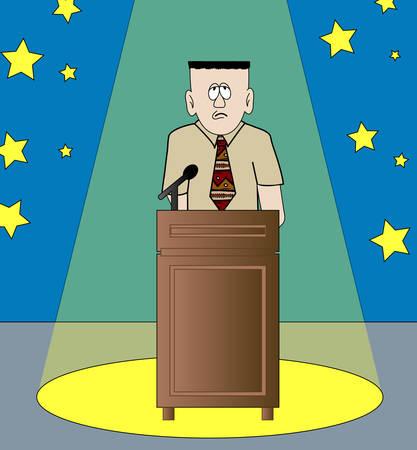 schüchtern oder nervös Mann die Rede stehend im Rampenlicht - Vektor