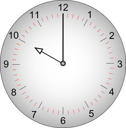 grey clock face with minutes marked off - 10 o'clock - vector