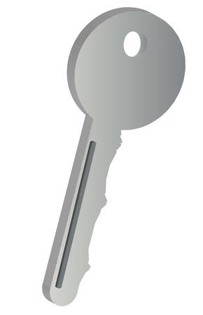 three dimensional silver or grey key on white - vector Stock Illustratie
