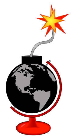 earth as an explosive bomb with lit fuse in stand - vector Çizim