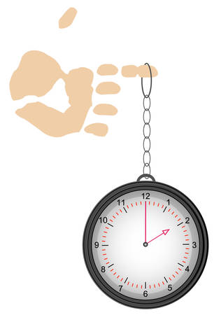 pocket watch or clock hanging from finger - time on your hands