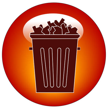 full trash can button or icon - vector