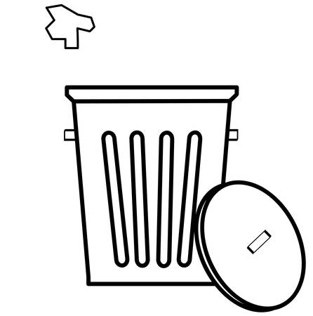 outline of garbage can with piece of litter being tossed in - vector Illustration