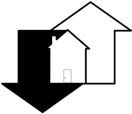 up and down arrows with house - fluctuations in housing market - vector