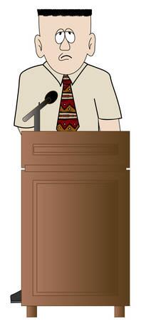 shy or worried business man standing at the podium - vector Ilustração