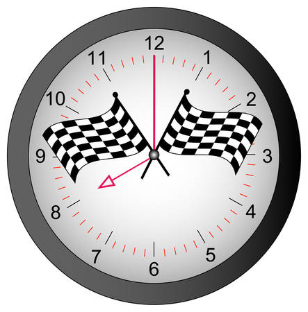 clock with checkered flags on top - race against time - vector