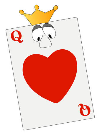 queen of hearts with eyes and crown - vector