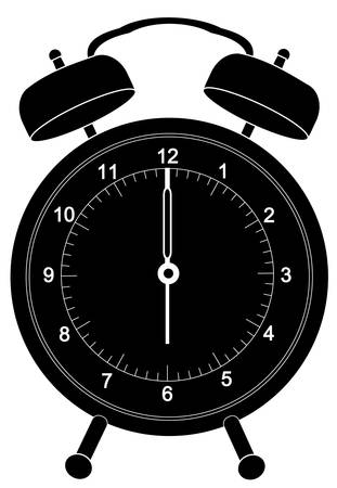 Black alarm klok silhouet set om zes uur - vector