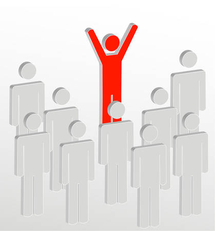 stick figure people with one person addressing the crowd - vector Stock Illustratie