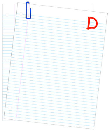 lined paper marked with D- - failing mark or grade - vector