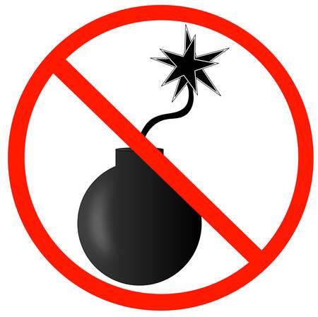 explosieve bom met een ontstoken lont en niet toegestaan symbool - vector Stock Illustratie