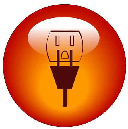 Plug en stop contact knop of pictogram - stroom - vector