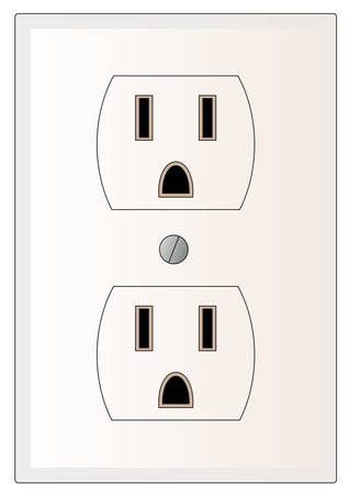 grounded electric or power outlet - vector Иллюстрация