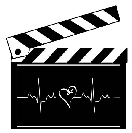clapboard with heart rhythm running across it - heart of entertainment industry - vector
