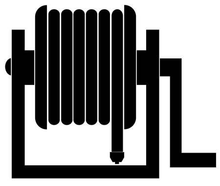silhouette of black garden hose reel - vector