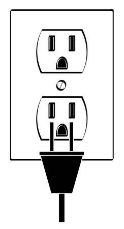 electric or power outlet outline with plug - vector Иллюстрация