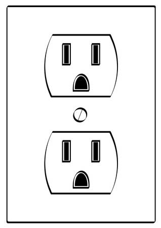 outline of grounded electrical power outlet - vector