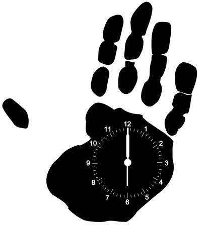 clock face on hand print - time on your hands - vector