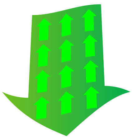 green downward arrow with opposing upward arrow inside - vector Ilustração