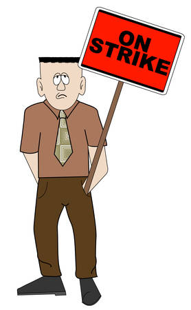 business man holding red on strike sign - picketing - vector Illustration