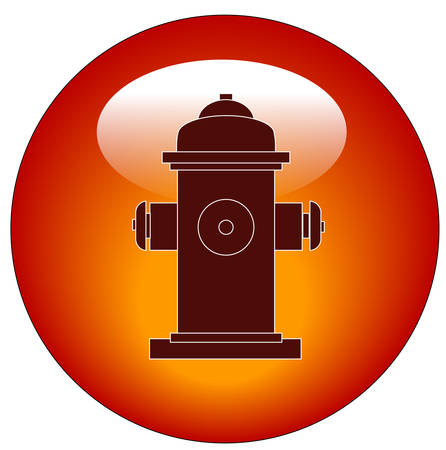 red fire hydrant web button or icon - vector