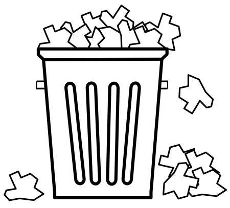 outline of garbage can overflowing with trash - vector